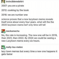 you are a pirate: r invincibleredshirt  2007: you are a pirate  2012: cooking by the book  2016: we are number one  science proves that a new lazytown meme reveals  itself once about every four years. what will the the  2020 lazytown meme be? only time will tell  meckamecha  No, the rate is increasing. The new one will be in 2019,  then 2021, then 2022. By 2024 we could be seeing a  new Lazytown meme every six hours.  molly-lou-melon  lazy town memes but every time a new one happens it  gets faster