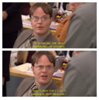 """One of my favorite Dwight quotes: """"R"""" IS AMONG THE MOST  MENACING OF SOUNDS  THATS WHY THEY CALL IT  MURDER, NOT """"MUKDUK."""" One of my favorite Dwight quotes"""