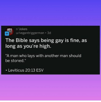 """Lay's, Love, and Weed: r/Jokes  u/vegantriggerman-3d  The Bible says being gay is fine, as  long as you're high.  """"A man who lays with another man should  be stoned.""""  . Leviticus 20:13 ESV Peace & Love 💕✌️ @toptree"""