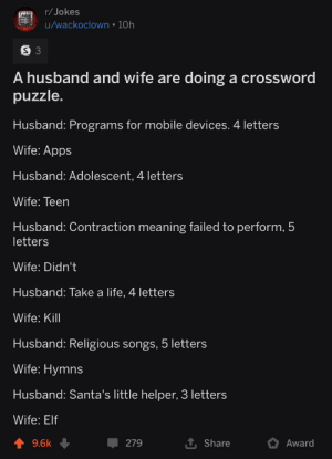Elf, Life, and Apps: r/ Jokes  u/wackoclown • 10h  A husband and wife are doing a crossword  puzzle.  Husband: Programs for mobile devices. 4 letters  Wife: Apps  Husband: Adolescent, 4 letters  Wife: Teen  Husband: Contraction meaning failed to perform, 5  letters  Wife: Didn't  Husband: Take a life, 4 letters  Wife: Kill  Husband: Religious songs, 5 letters  Wife: Hymns  Husband: Santa's little helper, 3 letters  Wife: Elf  9.6k  279  Share  Award A husband and wife are doing a crossword puzzle.