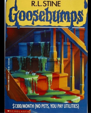 American Horror Story, American, and Pets: R.L. STINE  3  $1300/MONTH (NO PETS, YOU PAY UTILITIES)  SCHOLASTIC The real American Horror Story