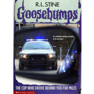 Dank, Definitely, and Memes: R.L. STINE  He's definitely running your plates,  at the very least..  THE COP WHO DROVE BEHIND YOU FOR MILES  SCHOLASTIC me irl by SendMeYourSocks MORE MEMES
