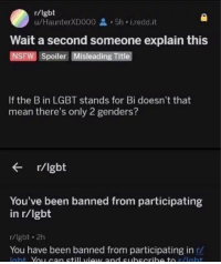 me irl: r/lgbt  u/HaunterXD000 5h i.redd.it  Wait a second someone explain this  NSFW Spoiler Misleading Title  If the B in LGBT stands for Bi doesn't that  mean there's only 2 genders?  r/lgbt  You've been banned from participating  in r/lgbt  r/lgbt 2h  You have been banned from participating in r/ me irl