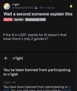 me irl by WeebWallets MORE MEMES: r/lgbt  u/HaunterXD000 5h i.redd.it  Wait a second someone explain this  NSFW Spoiler Misleading Title  If the B in LGBT stands for Bi doesn't that  mean there's only 2 genders?  r/lgbt  You've been banned from participating  in r/lgbt  r/lgbt 2h  You have been banned from participating in r/ me irl by WeebWallets MORE MEMES