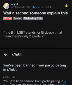 Madlad: r/lgbt  u/HaunterXDO00 5h i.redd.it  Wait a second someone explain this  NSFW Spoiler Misleading Title  If the B in LGBT stands for Bi doesn't that  mean there's only 2 genders?  r/lgbt  You've been banned from participating  in r/lgbt  r/lgbt 2h  You have been banned from participating in r/  Icht Yo1can still view and euhscrih to r/lebt Madlad