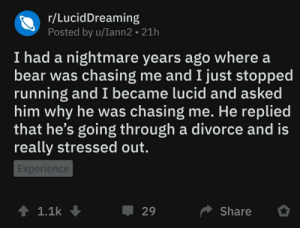 Bear, Divorce, and Experience: r/LucidDreaming  Posted by u/Iann2 21h  I had a nightmare years ago where a  bear was chasing me and I just stopped  running and I became lucid and asked  him why he was chasing me. He replied  that he's going through a divorce and is  really stressed out.  Experience  1 1.1k  Џ 29  Share meirl