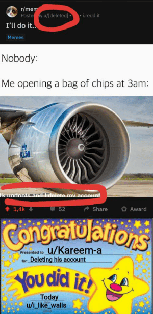Memes, Today, and Dank Memes: r/mem  Poste y u/[deleted]  i.redd.it  I'll do it.  Memes  Nobody:  Me opening a bag of chips at 3am:  k undoote and Idelete my account  1,4k  52  Share  Award  Congita tulations  u/Kareem-a  Presented to  Deleting his account  for  Youdid it!  Today  u/iulike_walls Incredible job!