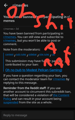 Memes, Reddit, and Help: r/mer es  You be banne fr  par cipating in r/  memes  r/memes 3d  You have been banned from participating in  r/memes. You can still view and subscribe to  r/memes, but you won't be able to post or  comment.  Note from the moderators:  t, sub rules/ sidebar , site rules  ca  context  This submission may have fu'  contributed to your ban:  r pa a  Oh no (sub to Modest Pelican Gaming)  If you have a question regarding your ban, you  can contact the moderator team for r/memes by  replying  to this message.  Reminder from the Reddit staff: If you use  another account to circumvent this subreddit ban,  that will be considered a violation of the Content  Policy and can result in your account being  suspended from the site as a whole.  Reply to message So guys what do I do please help
