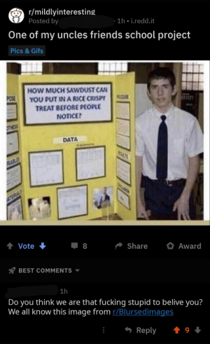This is just stupid...(repost because I forgot to censor names): r/mildlyinteresting  Posted by  1h • i.redd.it  One of my uncles friends school project  Pics & Gifs  HOW MUCH SAWDUST CAN  YOU PUT IN A RICE CRISPY  POSE  TREAT BEFORE PEOPLE  NOTICE?  OTHESE  DATA  dabmoms  RABLES  ATERIALS  Vote  Share  Award  BEST COMMENTS  1h  Do you think we are that fucking stupid to belive you?  We all know this image from r/Blursedimages  Reply  1 9 + This is just stupid...(repost because I forgot to censor names)