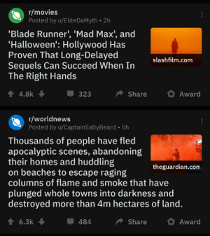 I thought this was a double post at first glance. Puts things into perspective...: r/movies  Posted by u/EliteDaMyth • 2h  'Blade Runner', 'Mad Max', and  'Halloween': Hollywood Has  Proven That Long-Delayed  Sequels Can Succeed When In  The Right Hands  slashfilm.com  Award  Share  4.8k  323  r/worldnews  Posted by u/CaptainSaltyBeard • 5h  Thousands of people have fled  apocalyptic scenes, abandoning  their homes and huddling  on beaches to escape raging  columns of flame and smoke that have  theguardian.com  plunged whole towns into darkness and  destroyed more than 4m hectares of land.  ↑ 6.3k  484  Share  Award I thought this was a double post at first glance. Puts things into perspective...