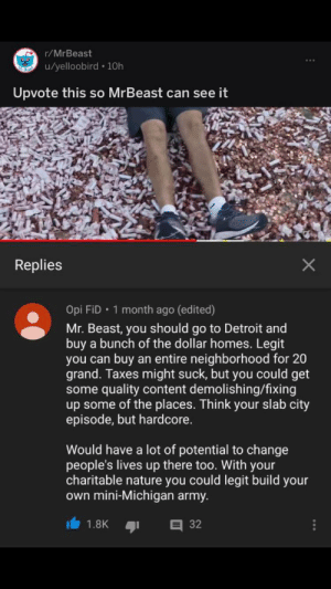 Detroit, Taxes, and Army: r/MrBeast  u/yelloobird 10h  Upvote this so MrBeast can see it  Replies  Opi FiD 1 month ago (edited)  Mr. Beast, you should go to Detroit and  buy a bunch of the dollar homes. Legit  buy an entire neighborhood for 20  you can  grand. Taxes might suck, but you could get  some quality content demolishing/fixing  up some of the places. Think your slab city  episode, but hardcore.  Would have a lot of potential to change  people's lives up there too. With your  charitable nature you could legit build your  own mini-Michigan army.  32  1.8K We need to spread this!!