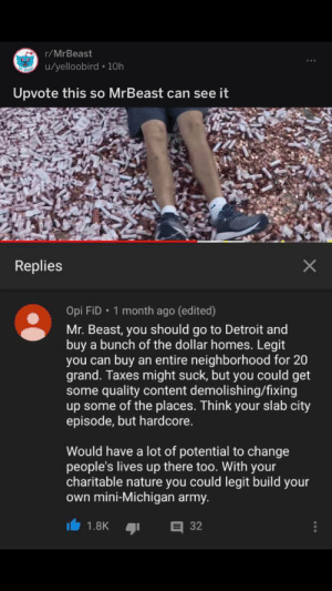 Detroit, Taxes, and Army: r/MrBeast  u/yelloobird 10h  Upvote this so MrBeast can see it  Replies  Opi FiD 1 month ago (edited)  Mr. Beast, you should go to Detroit and  buy a bunch of the dollar homes. Legit  buy an entire neighborhood for 20  you can  grand. Taxes might suck, but you could get  some quality content demolishing/fixing  up some of the places. Think your slab city  episode, but hardcore.  Would have a lot of potential to change  people's lives up there too. With your  charitable nature you could legit build your  own mini-Michigan army.  32  1.8K Idk if this was posted here already, but we need to spread it!