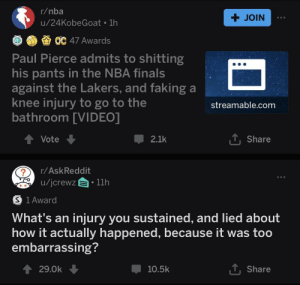 Finals, Los Angeles Lakers, and Nba: r/nba  + JOIN  u/24KobeGoat 1h  OC 47 Awards  Paul Pierce admits to shitting  his pants in the NBA finals  against the Lakers, and faking a  knee injury to go to the  bathroom [VIDEO]  streamable.com  TShare  Vote  2.1k  r/AskReddit  /jcrewz  11h  S 1 Award  What's an  injury you sustained, and lied about  how it actually happened, because it was too  embarrassing?  T Share  29.0k  10.5k what a champ for owning up to it