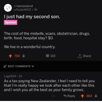 wholesome redditors being glad to pay taxes to help each other out: r/newzealand  u/dude4002 3h  just had my second son  Opinion  T he cost of the midwife, scans, obstetrician, drugs  birth, food, hospital stay? $0  We live in a wonderful countrv  103  T. Share  BEST COMMENTS  Legit924 2h  As a tax-paying New Zealander, I feel I need to tell you  that I'm really happy we look after each other like this  and I wish you all the best as your family grows.  Reply 203 wholesome redditors being glad to pay taxes to help each other out