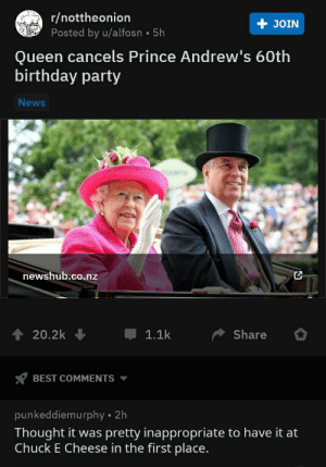 nunyabizni:  ouchie, that's gonna burn: r/nottheonion  Posted by u/alfosn 5h  + JOIN  Queen cancels Prince Andrew's 60th  birthday party  News  newshub.co.nz  20.2k  1.1k  Share  BEST COMMENTS  punkeddiemurphy 2h  Thought it was pretty inappropriate to have it at  Chuck E Cheese in the first place. nunyabizni:  ouchie, that's gonna burn