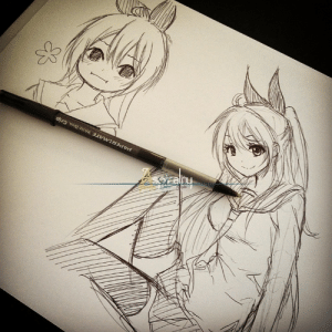 Tumblr, Blog, and Http: R.  PAPER MATE Write Bros. Grip auraspirality:  Ball point pen Chitoges. Her design is almost memorized now :D
