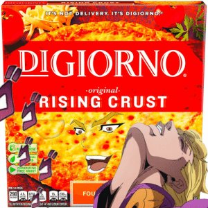 Pizza, Protein, and Free: R S N G  F O SA  DIC O R N O  IT'S NOT DELIVERY. IT'S DIGIORNO  DIGIORNO  original  RISING CRUST  %o  RE  EESE  CIAL  RS  PRESERVATIVE  FREE CRUST  PER 1/6 PIZZA  FOU  290 4.5g  15, 230mg  670  SOD  TOTAL  SUGARS  PROTEIN  CALCIUM  SAT FAT  CALORIES  23% DV  17% DV  20% DV  SEE NUTRITION INFORMAT  SAT FAT AND SODIUM CONTENT my coworker made this for me