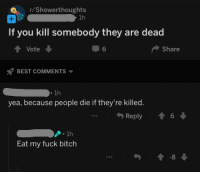r/Showerthoughts  1h  If you kill somebody they are dead  TVote  6  Share  BEST COMMENTS  1h  yea, because people die if they're killed  Reply 1 6  1h  Eat my fuck bitch  -8
