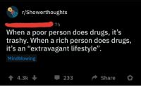 "Drugs, Shit, and Lifestyle: r/Showerthoughts  7h  When a poor person does drugs, it's  trashy. When a rich person does drugs,  it's an ""extravagant lifestyle"".  Mindblowing  14.3k  Share  233"