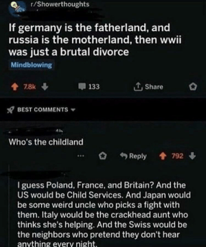 Crackhead, Weird, and Best: r/Showerthoughts  If germany is the fatherland, and  russia is the motherland, then wwii  was just a brutal divorce  Mindblowing  Share  7.8k  133  BEST COMMENTS  Who's the childland  Reply  792  I guess Poland, France, and Britain? And the  US would be Child Services. And Japan would  be some weird uncle who picks a fight with  them. Italy would be the crackhead aunt who  thinks she's helping. And the Swiss would be  the neighbors who pretend they don't hear  anything every night. R/showerthoughts