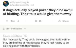 Dogs, Friends, and Memes: r/Showerthoughts  u/mellamoroberto 4h  If dogs actually played poker they'd be awful  at bluffing. Their tails would give them away  1474  16  L Share  BEST COMMENTS  SmartestldiotAlive 3h  Not necessarily. They could be wagging their tails wether  they are bluffing or not because they're Just happy to be  playing poker with their friends. positive-memes:  Too wholesome