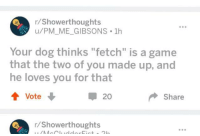 """<p>Some wholesome posts on showerthoughts.</p>: r/Showerthoughts  u/PM_ME_GIBSONS 1h  e98  Your dog thinks """"fetch"""" is a game  that the two of you made up, and  he loves you for that  20  Share  r/Showerthoughts <p>Some wholesome posts on showerthoughts.</p>"""