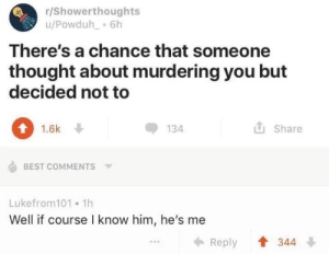 Best, Thought, and Best Comments: r/Showerthoughts  u/Powduh 6h  There's a chance that someone  thought about murdering you but  decided not to  1.6k  134  Share  BEST COMMENTS  Lukefrom101 1h  Well if course I know him, he's me  344  Reply Unexpected Obi Wan