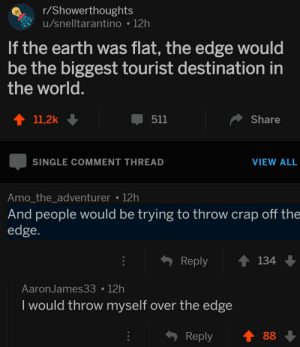 me irl: r/Showerthoughts  u/snelltarantino 12h  If the earth was flat, the edge would  be the biggest tourist destination in  the world  411,2k  511  Share  SINGLE COMMENT THREAD  VIEW ALL  Amo the adventurer 12h  And people would be trying to throw crap off the  edge  Reply 134  AaronJames3312h  I would throw myself over the edge  Reply88 me irl
