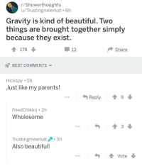 Beautiful, Parents, and Best: r/Showerthoughts  u/Trustingmeerkat. 6h  Gravity is kind of beautiful. Two  things are brought together simply  because they exist.  178  13  Share  BEST COMMENTS  Hickspy 5h  Just like my parents!  FriedChikkn 2h  Wholesome  Trustingmeerkat5h  Also beautiful  ...Vote <p>Wholesome post from r/showerthoughts</p>