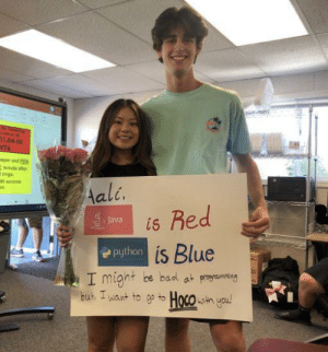 I asked a girl in my java class to homecoming (she said yes!): r Teache  esce A  01.04-05  NTS  aper and PEN  minute after  rings  40 seconds  Aali.  Red  Java  is  Python is Blue  I might be bad at proaming  but I want to ep to Hoco h you! I asked a girl in my java class to homecoming (she said yes!)