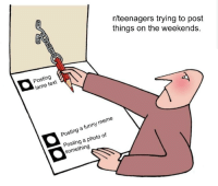 lame: r/teenagers trying to post  things on the weekends.  Posting  lame text  Posting a funny meme  Posting a photo of  something