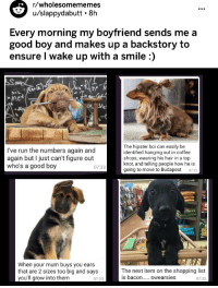 Shopping List: r/wholesomememes  u/slappydabutt 8h  Every morning my boyfriend sends me a  good boy and makes up a backstory to  ensure I wake up with a smile :)   NSL  I've run the numbers again and  again but I just can't figure out  who's a good boy  The hipster boi can easily be  identified hanging out in coffee  shops, wearing his hair in a top  knot, and telling people how he is  going to move to Budapest 0733  07:33  When your mum buys you ears  that are 2 sizes too big and says  you'll grow into them  The next item on the shopping list  07:32  07:33