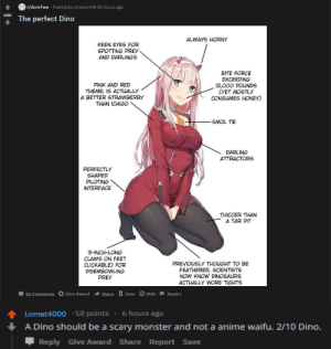Poor fella, gets downvoted for making a jojo reference: r/ZeroTwo Posted by u/rockyv04 10 hours ago  The perfect Dino  ALWAYS HORNY  KEEN EYES FOR  SPOTTING PREY  AND DARLINGS  PINK AND RED  THEME; 1S ACTUALLY  A BETTER STRAWBERRY  THAN ICHIGO  BITE FORCE  EXCEEDING  12,000 POUNDS  CYET MOSTLY  CONSUMES HONEY  SMOL TIE  DARLING  ATTRACTORS  PERFECTLY  SHAPED  PILOTING  INTERFACE  THICCER THAN  A TAR PT  3-INCH-LONG  CLAWS ON FEET  CLICKABLE) FOR  DISEMBOWLING  PREY  PREVIO SLY THOUGHT TO BE  FEATHERED, SCIENTISTS  NOW KN DINOSAURS  ACTUALLY WORE TIGHTS  16 Comments O Give Award → Share  save O Hide-Report  Lomat4000-18 points . 6 hours ago  A Dino should be a scary monster and not a anime waifu. 2/10 Dino.  Reply Give Award Share Report Save Poor fella, gets downvoted for making a jojo reference