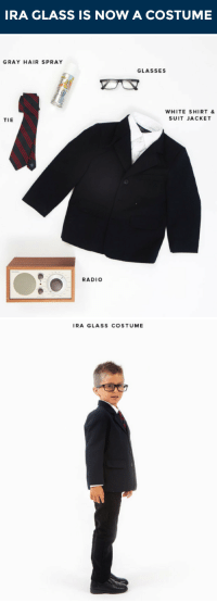 """Halloween, Radio, and Target: RA GLASS IS NOW A COSTUME   GRAY HAIR SPRAY  GLASSES  WHITE SHIRT&  SUIT JACKET  TIE  RADIO   IRA GLASS COSTUME <p>Attention everyone: <a href=""""https://www.youtube.com/watch?v=URN4YcTOivY&amp;list=UU8-Th83bH_thdKZDJCrn88g"""" target=""""_blank"""">There is an Ira Glass Halloween costume for kids</a>!</p>"""