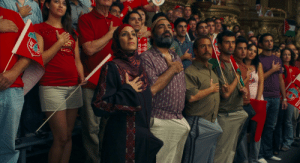Adam Sandler, Boner, and Mariah Carey: RA  TR  TTRA  MEE In the You don't mess with the Zohan (2008) movie with Adam Sandler, in the scene where Mariah Carey sings the national anthem, some of these Palestinians get a boner including one of the women... Altough the third one (Rob Schneinder) is having one of the fakest boners...