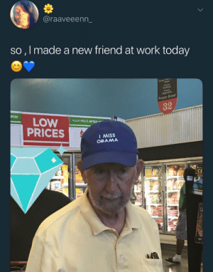 Blackpeopletwitter, Frozen, and Funny: @raaveeenn_  so , l made a new friend at work today  Frozen Bread  32  PON  YOUR PRICE AFTER  PRICES  I MISS  OBAMA  Cs We have all just made a friend