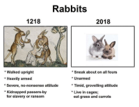 Memes, Live, and Attitude: Rabbits  1218  2018  *Sneak about on all fours  * Walked upright  * Heavily armed  *Severe, no-nonsense attitude  Unarmed  * Timid, grovelling attitude  * Live in cages;  Kidnapped passers-by  for slavery or ransom  eat grass and carrots Times have changed