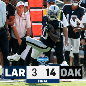 FINAL: @Raiders over the Rams, 14-3! #LARvsOAK https://t.co/JaUwKT9ZYZ: RACES  RAIDERS  PRESEASON  2019  LAR 3 14 OAK  FINAL FINAL: @Raiders over the Rams, 14-3! #LARvsOAK https://t.co/JaUwKT9ZYZ