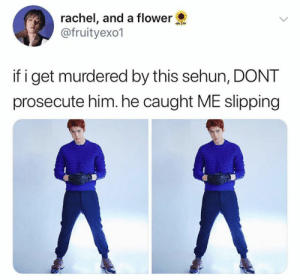 EXO memes: rachel, and a flower  @fruityexo1  if i get murdered by this sehun, DONT  prosecute him. he caught ME slipping EXO memes