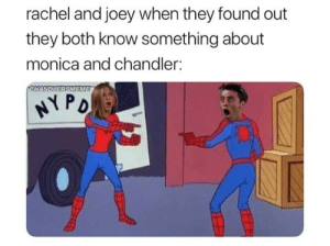 It just goes well.: rachel and joey when they found out  they both know something about  monica and chandler:  CHANDLERSMEME  NYPO It just goes well.