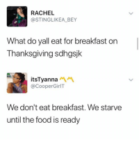 Facts, Food, and Memes: RACHEL  @STINGLIKEA_BEY  What do yall eat for breakfast on  Thanksgiving sdhgsjk  itsTyanna  @CooperGirlT  We don't eat breakfast. We starve  until the food is ready Facts
