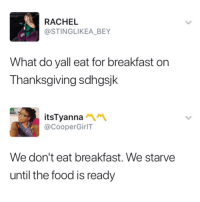 Blackpeopletwitter, Food, and Thanksgiving: RACHEL  @STINGLIKEA_BEY  What do yall eat for breakfast on  Thanksgiving sdhgsjk  itsTyanna  @CooperGirlT  We don't eat breakfast. We starve  until the food is ready <p>Completely True (via /r/BlackPeopleTwitter)</p>