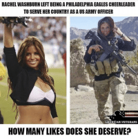 America, Philadelphia Eagles, and Facebook: RACHEL WASHBURN LEFT BEING A PHILADELPHIA EAGLES CHEERLEADER  TO SERVE HER COUNTRY AS A US ARMY OFFICER  AMERICAN VETERANS  HOW MANY LIKES DOES SHE DESERVE Patriotism runs in your blood, and this is how this patriotic woman served. Love it. patriotism trumpmemes liberals libbys democraps liberallogic liberal maga conservative constitution presidenttrump resist thetypicalliberal typicalliberal merica america stupiddemocrats donaldtrump trump2016 patriot trump yeeyee presidentdonaldtrump draintheswamp makeamericagreatagain trumptrain triggered CHECK OUT MY WEBSITE AND STORE!🌐 thetypicalliberal.net-store 🥇Join our closed group on Facebook. For top fans only: Right Wing Savages🥇 Add me on Snapchat and get to know me. Don't be a stranger: thetypicallibby Partners: @theunapologeticpatriot 🇺🇸 @too_savage_for_democrats 🐍 @thelastgreatstand 🇺🇸 @always.right 🐘 @keepamerica.usa ☠️ @republicangirlapparel 🎀 @drunkenrepublican 🍺 TURN ON POST NOTIFICATIONS! Make sure to check out our joint Facebook - Right Wing Savages Joint Instagram - @rightwingsavages