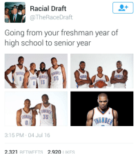 Just imagine what college be like for him: Racial Draft  @The Race Draft  Going from your freshman year of  high school to senior year  3:15 PM 04 Jul 16  2.321 RETWEETS 2.920 LIKES Just imagine what college be like for him