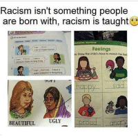 """Bad, Memes, and Miss Universe: Racism isn't something people  are born with, racism is taught  Mrw0RK HELPERS  Feelings  e. Draw the child's face to match the foe  domestic helper in Hona Kang  a.  sushi restouront io Hong Kong  UGLY  BEAUTIFUI From: @nitlacatl_cipactli Subliminal messaging. This is how and why representation in media and politics shapes how we think and feel about ourselves. Disagree? In Latin American countries it's the white people in political and governmental power as well as in the media. In telenovelas the cast is always criollos-castizo while light skin mestizos get more representation. Meanwhile indigenous and black actors are relegated to being the thugs, maids, servants, gardeners and the """"bad guys"""". In the beauty pageants the """"Miss Universe"""" it's the same. In film characters are whitewashed. This is why diversity in representation and power is important."""
