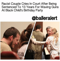 "Racist Couple Cries In Court After Being Sentenced To 13 Years For Waving Guns At Black Child's Birthday Party - blogged by: @eleven8 ⠀⠀⠀⠀⠀⠀⠀⠀⠀ ⠀⠀⠀⠀⠀⠀⠀⠀⠀ A Georgia court got it right when they sentenced 26-year-old Jose Ismael Torres and 25-year-old Kayla Rae Norton to some hard time for waving guns and terrorizing 8 year old black children. ⠀⠀⠀⠀⠀⠀⠀⠀⠀ ⠀⠀⠀⠀⠀⠀⠀⠀⠀ The incident occurred July 2015 in Douglasville, GA. Torres and Norton, as part of a larger group called 'Respect the Flag,' pulled up to the birthday party of an 8 year old black child with a convoy of at least 7 pickup trucks, waving confederate flags. As they drove by, the convoy hurled racial slurs and threats at partygoers. At one point Torres pulled out a shotgun and pointed it at the child's family. ⠀⠀⠀⠀⠀⠀⠀⠀⠀ ⠀⠀⠀⠀⠀⠀⠀⠀⠀ In court Monday, a judge decided to sentence Torres and Norton to a year greater than what the state was seeking. Norton was sentenced to 6 years on one count of violating Georgia's street gang act and one count of making terroristic threats. Torres was sentenced to 13 years for three counts of aggravated assault with a deadly weapon, one count of terroristic threats and one count of violating the street gang act. The couple cried hysterically in court as their sentences were being read. ⠀⠀⠀⠀⠀⠀⠀⠀⠀ ⠀⠀⠀⠀⠀⠀⠀⠀⠀ ""The worst decision I've ever made in my life was to not walk away when I had the chance,"" Norton said. ""That is not me. That is not me. That is not him. I would never walk up to you and say those words to you and I am so sorry that happened to you."" ⠀⠀⠀⠀⠀⠀⠀⠀⠀ ⠀⠀⠀⠀⠀⠀⠀⠀⠀ Torres and Norton were the last of the 15 people to be convicted. ⠀⠀⠀⠀⠀⠀⠀⠀⠀ ⠀⠀⠀⠀⠀⠀⠀⠀⠀ Congratulations to the judge who saw this heinous hate crime for what it was.: Racist Couple Cries In Court After Being  Sentenced To 13 Years For Waving Guns  At Black Child's Birthday Party  @balleralert  OUN  PR Racist Couple Cries In Court After Being Sentenced To 13 Years For Waving Guns At Black Child's Birthday Party - blogged by: @eleven8 ⠀⠀⠀⠀⠀⠀⠀⠀⠀ ⠀⠀⠀⠀⠀⠀⠀⠀⠀ A Georgia court got it right when they sentenced 26-year-old Jose Ismael Torres and 25-year-old Kayla Rae Norton to some hard time for waving guns and terrorizing 8 year old black children. ⠀⠀⠀⠀⠀⠀⠀⠀⠀ ⠀⠀⠀⠀⠀⠀⠀⠀⠀ The incident occurred July 2015 in Douglasville, GA. Torres and Norton, as part of a larger group called 'Respect the Flag,' pulled up to the birthday party of an 8 year old black child with a convoy of at least 7 pickup trucks, waving confederate flags. As they drove by, the convoy hurled racial slurs and threats at partygoers. At one point Torres pulled out a shotgun and pointed it at the child's family. ⠀⠀⠀⠀⠀⠀⠀⠀⠀ ⠀⠀⠀⠀⠀⠀⠀⠀⠀ In court Monday, a judge decided to sentence Torres and Norton to a year greater than what the state was seeking. Norton was sentenced to 6 years on one count of violating Georgia's street gang act and one count of making terroristic threats. Torres was sentenced to 13 years for three counts of aggravated assault with a deadly weapon, one count of terroristic threats and one count of violating the street gang act. The couple cried hysterically in court as their sentences were being read. ⠀⠀⠀⠀⠀⠀⠀⠀⠀ ⠀⠀⠀⠀⠀⠀⠀⠀⠀ ""The worst decision I've ever made in my life was to not walk away when I had the chance,"" Norton said. ""That is not me. That is not me. That is not him. I would never walk up to you and say those words to you and I am so sorry that happened to you."" ⠀⠀⠀⠀⠀⠀⠀⠀⠀ ⠀⠀⠀⠀⠀⠀⠀⠀⠀ Torres and Norton were the last of the 15 people to be convicted. ⠀⠀⠀⠀⠀⠀⠀⠀⠀ ⠀⠀⠀⠀⠀⠀⠀⠀⠀ Congratulations to the judge who saw this heinous hate crime for what it was."
