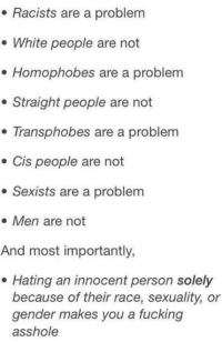 Fucking, White People, and White: . Racists are a problem  e White people are not  . Homophobes are a problem  . Straight people are not  . Transphobes are a problem  . Cis people are not  e Sexists are a problem  Men are not  And most importantly,  . Hating an innocent person solely  because of their race, sexuality, or  gender makes you a fucking  asshole