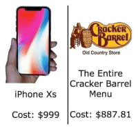 Iphone, Dank Memes, and Old: RacKeR  el  Old Country Store  The Entire  Cracker Barrel  Menu  iPhone Xs  Cost: $999 Cost: $887.81 Easy choice