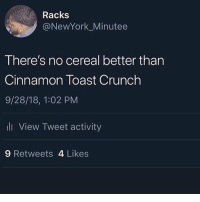 Facts: Racks  @NewYork_Minutee  There's no cereal better than  Cinnamon Toast Crunch  9/28/18, 1:02 PM  ll View Tweet activity  9 Retweets 4 Likes Facts