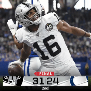 """Memes, Raiders, and 🤖: RADES  16  FINAL  31 24 FINAL: """"KNOCK ON WOOD IF YOU'RE WITH ME!""""  The @Raiders win in Indy!  #OAKvsIND https://t.co/n9mBnEyJsP"""